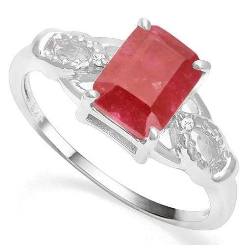 925 STERLING SILVER OCTAGON 1.60 CT ENHANCED GENUINE RUBY & DIAMOND COCKTAIL RING wholesalekings wholesale silver jewelry