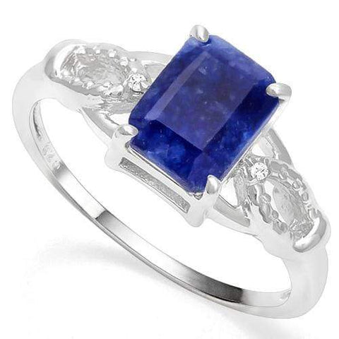 925 STERLING SILVER OCTAGON 1.60. CT ENHANCED GENUINE SAPPHIRE & DIAMOND COCKTAIL RING - Wholesalekings.com