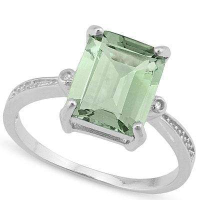 925 STERLING SILVER OCTAGON CUT 8*10MM GREEN AMETHYST & DIAMOND WOMEN RING - Wholesalekings.com