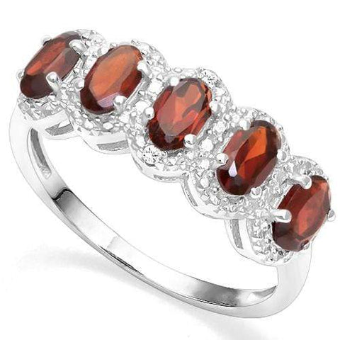1.58 CT GARNET & DIAMOND 925 STERLING SILVER RING - Wholesalekings.com