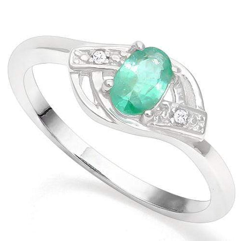 925 STERLING SILVER OV 4*6 MM EMERALD WOMEN RING wholesalekings wholesale silver jewelry