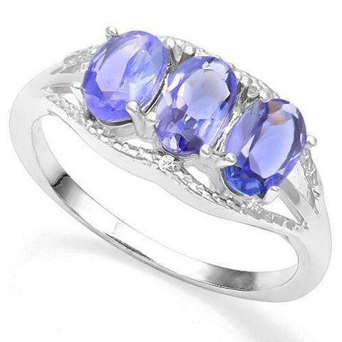 925 STERLING SILVER OV 4*6 MM Tanzanite and Diamond WOMEN RING - Wholesalekings.com