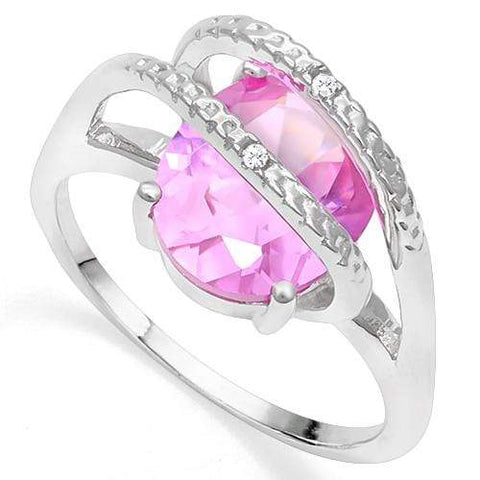 925 STERLING SILVER OV 9*11 MM Created Pink Sapphire and Diamond WOMEN RING wholesalekings wholesale silver jewelry