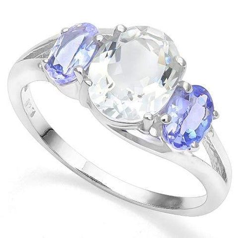 1.41 CT AQUAMARINE & 4/5 CT TANZANITE 18K GOLD PLATED RING - Wholesalekings.com