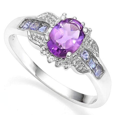 925 STERLING SILVER OVAL CUT 5X7MM AMETHYST & TANZANIITE ENGAGEMENT RING - Wholesalekings.com