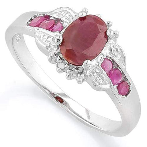 925 STERLING SILVER OVAL CUT 5X7MM ENHANCED RUBY ENGAGEMENT RING - Wholesalekings.com