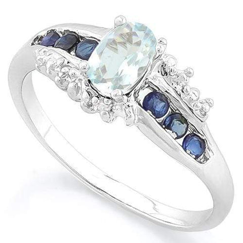925 STERLING SILVER OVAL CUT 6*4MM AQUAMARINE & GENUINE SAPPHIRE WOMEN RING wholesalekings wholesale silver jewelry
