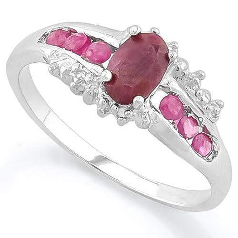 925 STERLING SILVER OVAL CUT 6*4MM GENUINE RUBY WOMEN RING - Wholesalekings.com