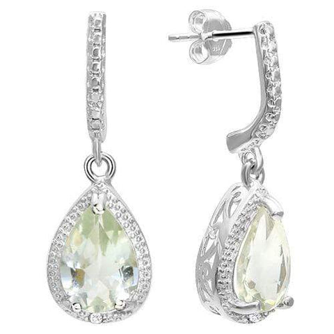925 STERLING SILVER PEAR CUT 6*9MM GREEN AMETHYST & DIAMOND EARRINGS - Wholesalekings.com