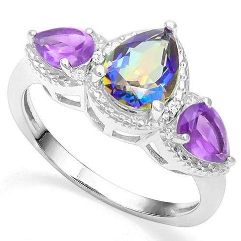 925 STERLING SILVER PR 6*8 MM BLUE MYSTIC, AMETHYST AND DIAMOND WOMEN RING - Wholesalekings.com
