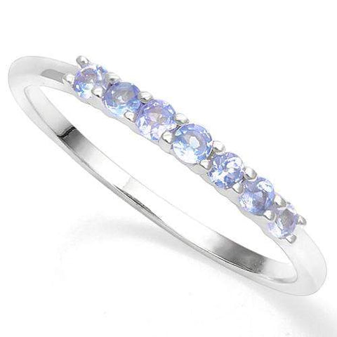 925 STERLING SILVER RD 2MM 0.27CT TANZANITE WOMEN RING wholesalekings wholesale silver jewelry