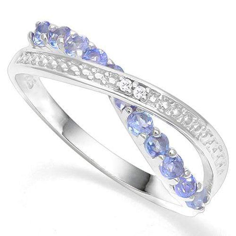 925 STERLING SILVER RD 2MM 0.47CT TANZANITE WOMEN RING wholesalekings wholesale silver jewelry