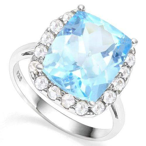 925 STERLING SILVER RING 10*12 MM CUSHION CUT BABY SWISS BLUE TOPAZ WOMEN ENGAGEMENT RING - Wholesalekings.com