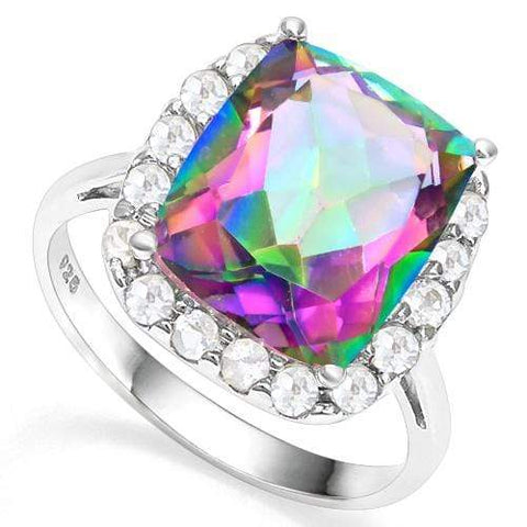 925 STERLING SILVER RING 10*12 MM CUSHION CUT MYSTIC GEMSTONE WOMEN ENGAGEMENT RING - Wholesalekings.com
