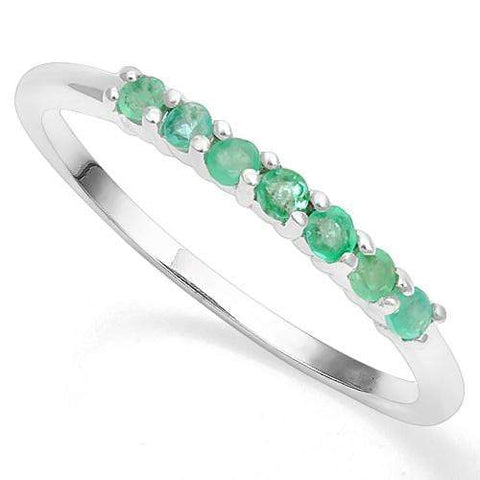 925 STERLING SILVER ROUND 2MM  EMERALD WOMEN RING wholesalekings wholesale silver jewelry