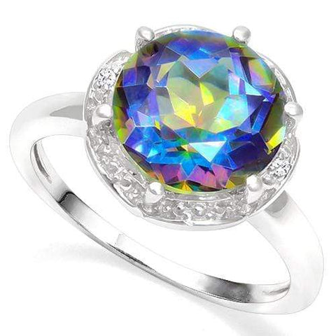 3.50 CT BLUE MYSTIC GEMSTONE & DIAMOND 925 STERLING SILVER RING - Wholesalekings.com