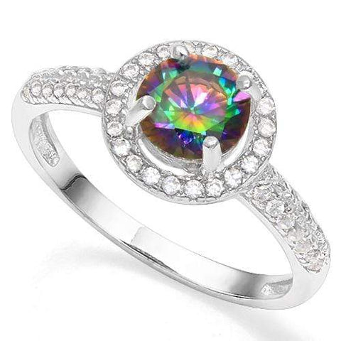 925 STERLING SILVER ROUND CUT 6MM CREATED MYSTIC GEMSTONE & CREATED DIAMOND WOMEN RING wholesalekings wholesale silver jewelry