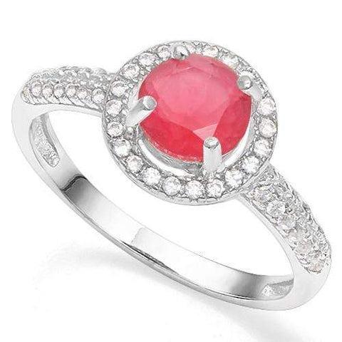 925 STERLING SILVER ROUND CUT 6MM CREATED RUBY & CREATED DIAMOND WOMEN RING - Wholesalekings.com