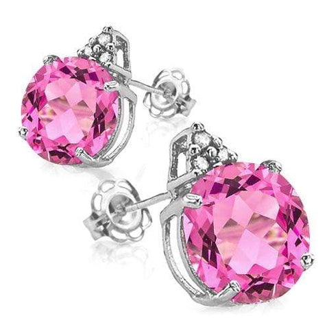 925 STERLING SILVER ROUND CUT 8MM CREATED PINK SAPPHIRE & DIAMOND EARRINGS - Wholesalekings.com