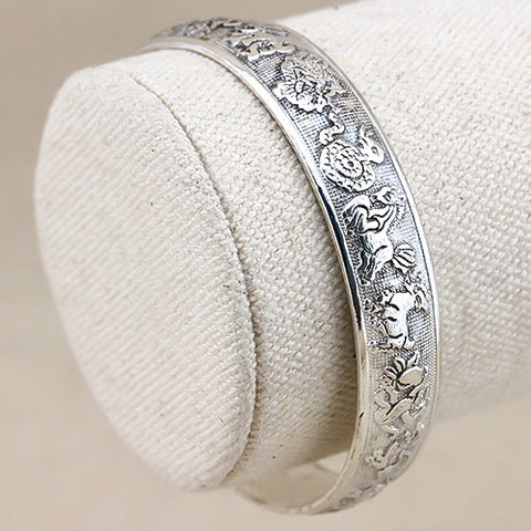 SPLENDID ! ANTIQUE SILVER ADJUSTABLE CHINESE ZODIAC BANGLE