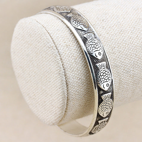 MARVELOUS ! ANTIQUE SILVER ADJUSTABLE LUCKY FISH BANGLE