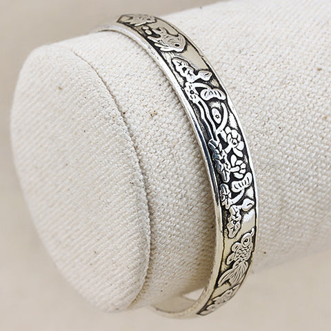 EXQUISITE ! ANTIQUE SILVER ADJUSTABLE LUCKY BANGLE