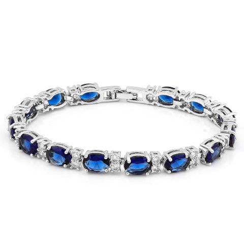 MONSTER 16 CARATS ( 14 PCS ) CREATED BLUE SAPPHIRES &  1 3/4 CARATS (28 PCS) CREATED WHITE SAPPHIRES  BRACELET