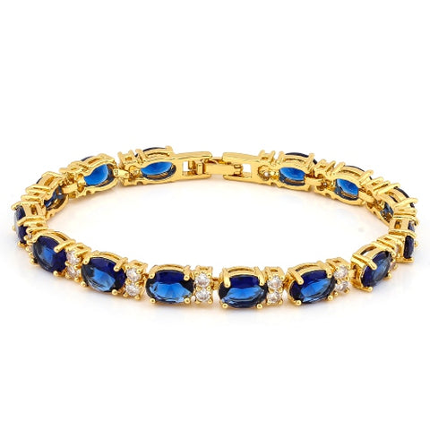 16 CARATS ( 14 PCS ) CREATED BLUE SAPPHIRES &  1 3/4 CARATS (28 PCS) CREATED WHITE SAPPHIRES BRACELET ( Length: 7-7.5inches)