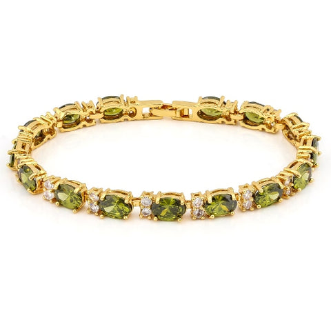 16 CARATS ( 14 PCS ) CREATED PERIDOTS &  1 3/4 CARATS (28 PCS) CREATED WHITE SAPPHIRE BRACELET ( Length: 7-7.5inches)