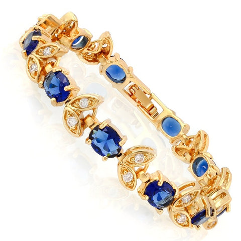 11 CARATS ( 11 PCS ) CREATED BLUE SAPPHIRE &  1 CARAT (20 PCS) CREATED WHITE SAPPHIRE BRACELET ( Length: 7-7.5inches)
