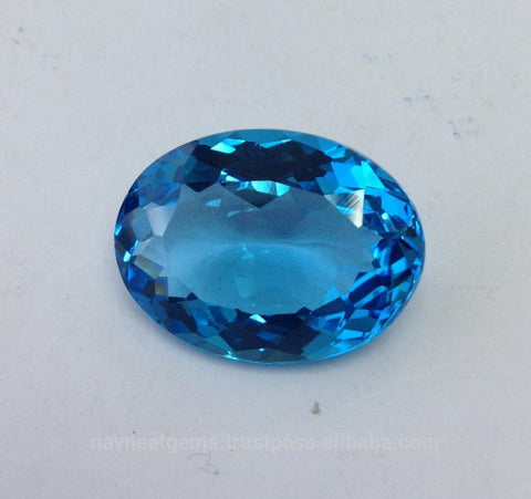 10x12MM OVAL CREATED SWISS TOPAZ  LOOSE GEMSTONE