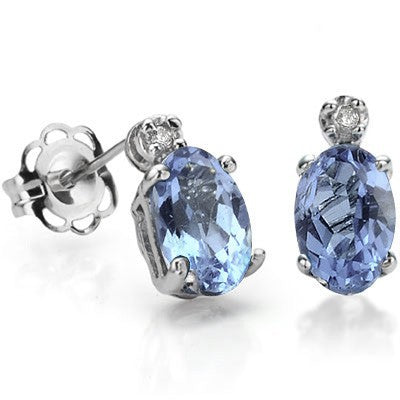 0.90 CT BLUE TOPAZ & 2 PCS WHITE DIAMOND 0.925 STERLING SILVER W/ PLATINUM EARRINGS