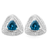 1 CARAT LONDON BLUE TOPAZ   925 STERLING SILVER EARRINGS