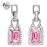 1 1/3 CARAT CREATED PINK SAPPHIRE   925 STERLING SILVER EARRINGS