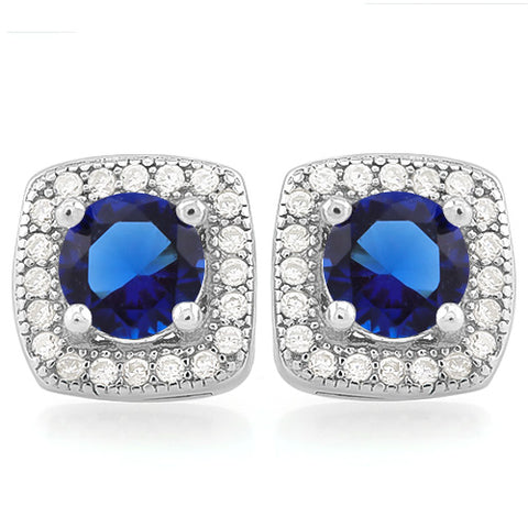 MESMERIZING 1 1/5 CARAT CREATED BLUE SAPPHIRE & 1/2 CARAT (48 PCS) FLAWLESS CREATED DIAMOND 925 STERLING SILVER EARRINGS