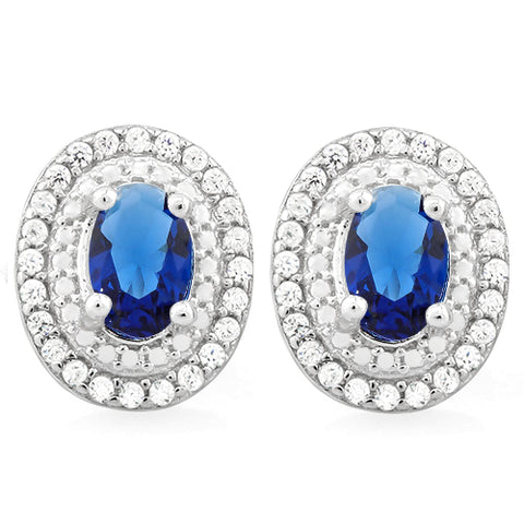 SPARKLING 2 CARAT CREATED BLUE SAPPHIRE & 3/5 CARAT (60 PCS) FLAWLESS CREATED DIAMOND 925 STERLING SILVER EARRINGS