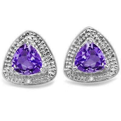 1.88 CT AMETHYST & 2 PCS WHITE DIAMOND 0.925 STERLING SILVER W/ PLATINUM EARRINGS