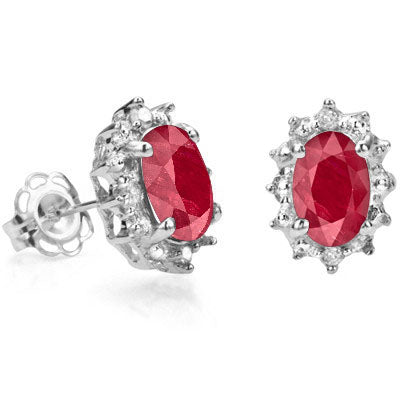 1 1/3 CARAT AFRICAN RUBY & DIAMOND 925 STERLING SILVER EARRINGS