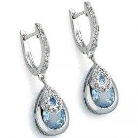 PRETTY 3.15 CT BLUE TOPAZ & 2 PCS WHITE DIAMOND 0.925 STERLING SILVER W/ PLATINUM EARRINGS