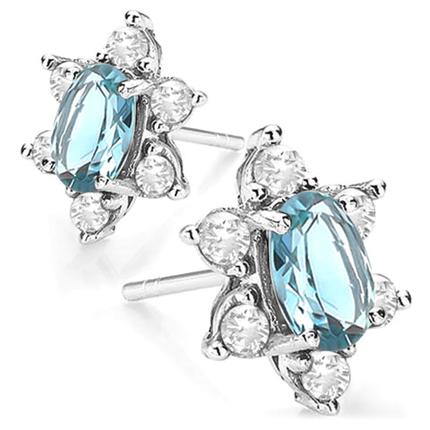 1 CARAT BABY SWISS BLUE TOPAZ & 1/2 CARAT WHITE TOPAZS 925 STERLING SILVER EARRINGS