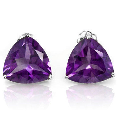 10K Solid White Gold Trillion shape 5MM Natural Amethyst Earring Studs