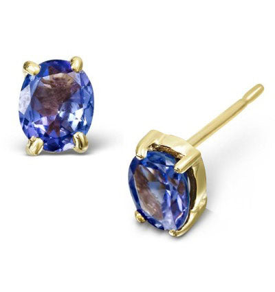 CAPTIVATING 1 CARAT TW (2 PCS) NATURE TANZANITE 14K SOLID YELLOW GOLD EARRINGS