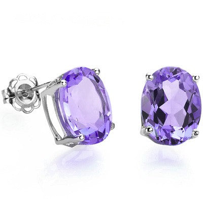 MESMERIZING 1.00 CT AMETHYST 0.925 STERLING SILVER EARRINGS W/ PLATINUM