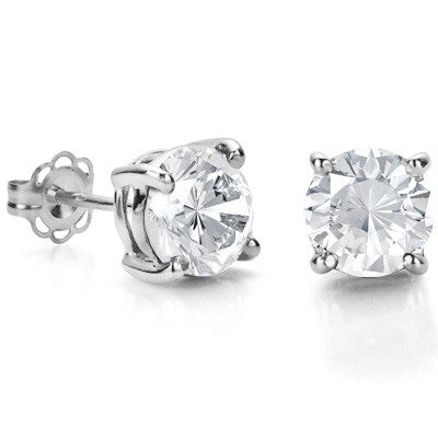 EXCELLENT 1.15 CT WHITE TOPAZ 0.925 STERLING SILVER W/ PLATINUM EARRINGS