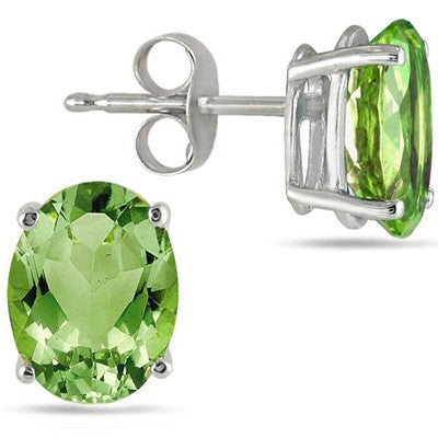 ELEGANT 1.00 CT PERIDOT 0.925 STERLING SILVER EARRINGS W/ PLATINUM
