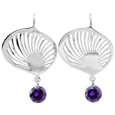 CHARMING VIOLET SWAROVSKI CRYSTAL WHITE GERMAN SILVER EARRINGS
