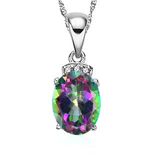 ELEGANT 1.50 CT MYSTIC GEMSTONE & 3 PCS WHITE DIAMOND 0.925 STERLING SILVER W/ PLATINUM PENDANT WITH 18