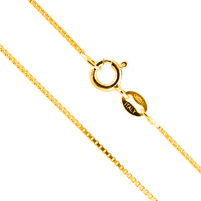 AWESOME PURE??925??ITALY??STERLING??SILVER??WITH??18K??YELLOW GOLD??PLATED??BOX CHAIN- 16 INCHES