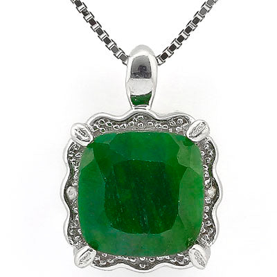 SMASHING 2.80 CT DYED GENUINE EMERALD & 2PCS GENUINE DIAMOND PLATINUM OVER 0.925 STERLING SILVER PENDANT
