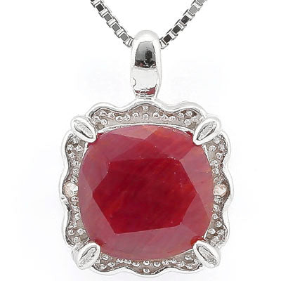 SMASHING 2.80 CT RUBY & 2PCS GENUINE DIAMOND PLATINUM OVER 0.925 STERLING SILVER PENDANT